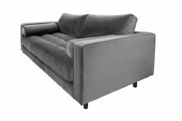 Canapea din catifea Miller, 2 locuri, gri 100x185x84 cm