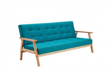 Canapea extensibilă din catifea cu cadru din lemn de eucalipt turcoaz, 3 locuri