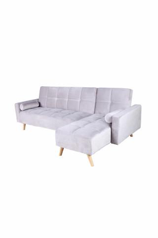 Canapea Maloni extensibila pe dreapta, 3 locuri, gri deschis