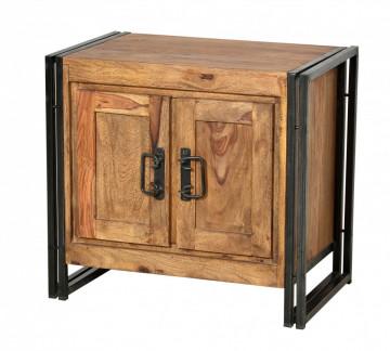 Comoda din lemn de salcam Panama, maro/negru antic, 67 cm