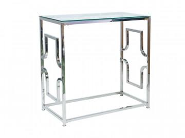 Consola din sticla cu cadru din metal argintiu 78 x 80 x 40 cm