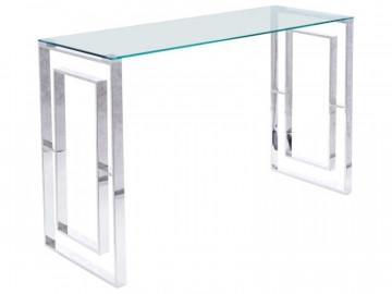 Consola din sticla cu cadru din otel argintiu Allure 120 x 40 cm