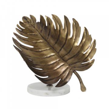Decoratiune frunza din metal Ajay, auriu/alb