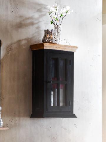 Etajera din lemn de mango Corsica, negru, 70 cm