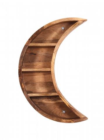 Etajera din lemn de mango in forma de semiluna 40x13x60 cm