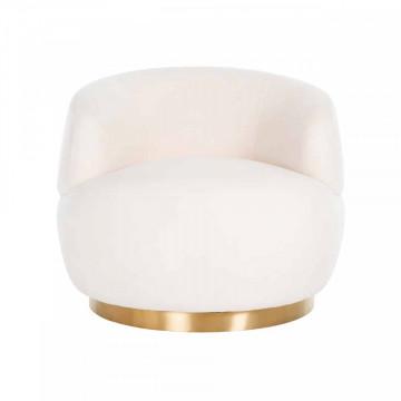 Fotoliu rotativ tapitat alb/auriu