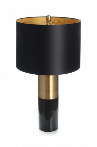 Lampa decoratina din tesatura/metal/marmura Orbit neagra /bronze/neagra, un bec