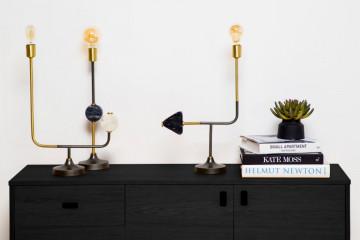 Lampa decorativa din fier/cupru Carlea neagra, 2 becuri