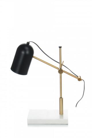 Lampa decorativa din metal/marmura Spiro neagra / aurie, un bec