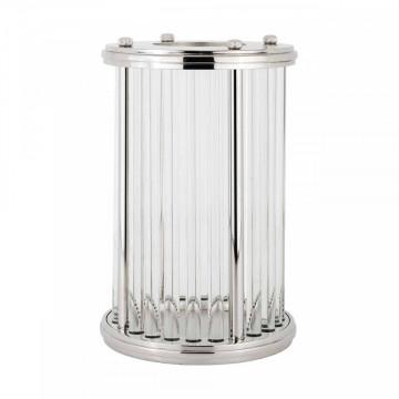 Lampa decorativa mare din aluminiu/sticla Eaden argintie, un bec