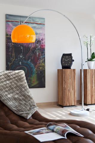 Lampadar din metal/marmura/plastic 208 cm portocaliu, 1 bec