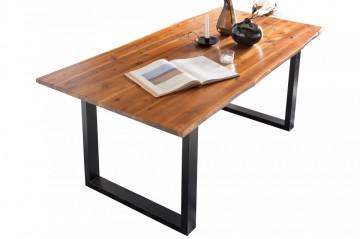 Masa dreptunghiulara cu blat din lemn de salcam 160x85x77 cm coniac/negru