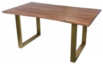 Masa dreptunghiulara cu blat din lemn de salcam Tables & Benches 160 x 85 x 77 cm maro/auriu