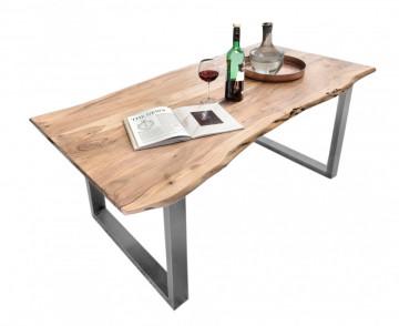 Masa dreptunghiulara cu blat din lemn de salcam Tables & Benches 200 x 100 x 76 cm maro/argintiu