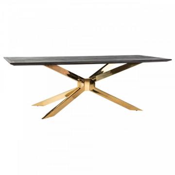 Masa dreptunghiulara cu blat din lemn de stejar Blackbone Matrix 75 x 240 x 100 cm gri inchis/auriu