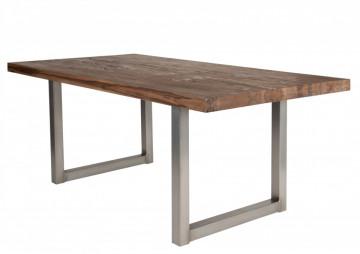 Masa dreptunghiulara cu blat din lemn de stejar Tables & Benches 180 x 100 x 76 cm maro inchis/argintiu