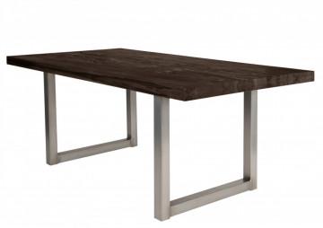Masa dreptunghiulara cu blat din lemn de stejar Tables & Benches 180 x 100 x 76 cm gri carbon/argintiu