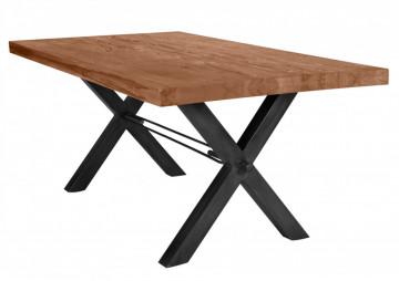 Masa dreptunghiulara cu blat din lemn de stejar Tables & Benches 200 x 100 x 76 cm maro/negru