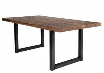 Masa dreptunghiulara cu blat din lemn de stejar Tables & Benches 200 x 100 x 76 cm maro inchis/negru