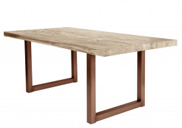 Masa dreptunghiulara cu blat din lemn de stejar Tables & Benches 220 x 100 x 76 cm maro deschis/maro inchis