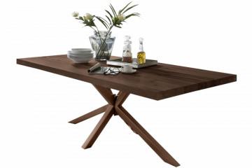 Masa dreptunghiulara cu blat din lemn de stejar Tables & Benches 220 x 100 x 76,5 cm maro inchis