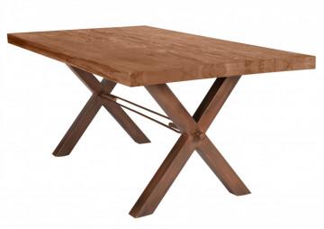 Masa dreptunghiulara cu blat din lemn de stejar Tables & Benches 240 x 100 x 76 cm maro