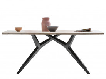 Masa dreptunghiulara cu blat din lemn de stejar Tables&Co 180x90 cm maro deschis/negru