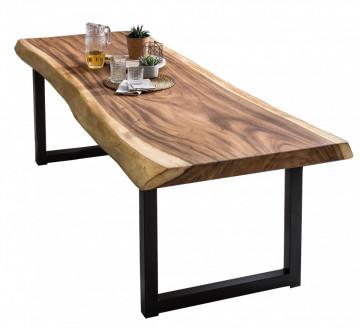 Masa dreptunghiulara cu blat din lemn de suar Tables & Benches 200 x 100 x 78,5 cm maro/negru