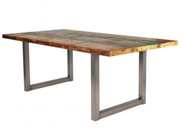 Masa dreptunghiulara cu blat din lemn de tec reciclat Tables & Benches 200 x 100 x 76,5 cm multicolor/argintiu
