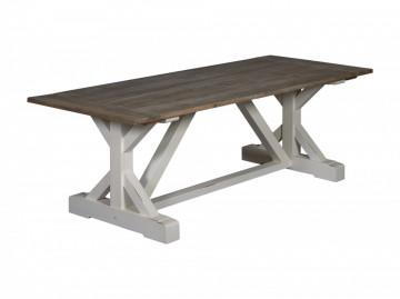 Masa dreptunghiulara din lemn de pin 240x100x78 cm maro inchis/alb