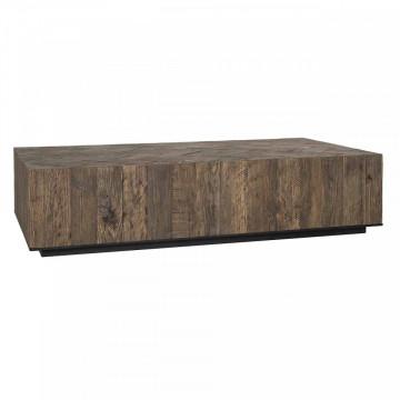 Masuta de cafea dreptunghiulara din stejar si metal Herringbone 150x80x35 cm maro