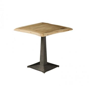 Masuta de cafea patrata din lemn 80x80x78 cm maro deschis/negru