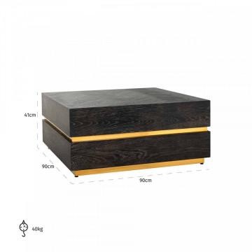 Masuta de cafea patrata din stejar si otel Blackbone 90x90x41 cm negru/auriu