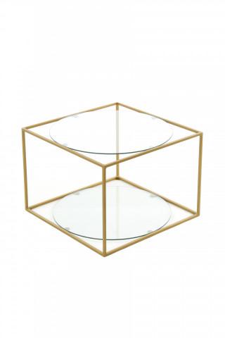 Masuta de cafea patrata din sticla cu spatiu de depozitare Cody 50x50x36 cm transparenta/auriu