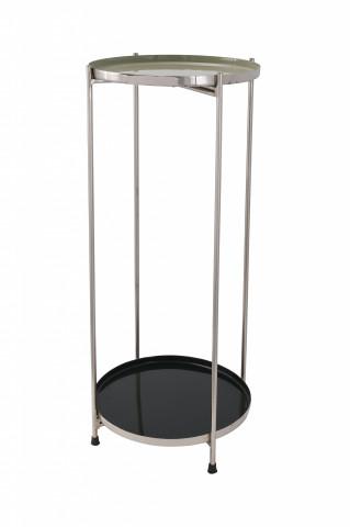 Masuta de cafea rotunda din fier 28x28x60 cm negru / argintiu
