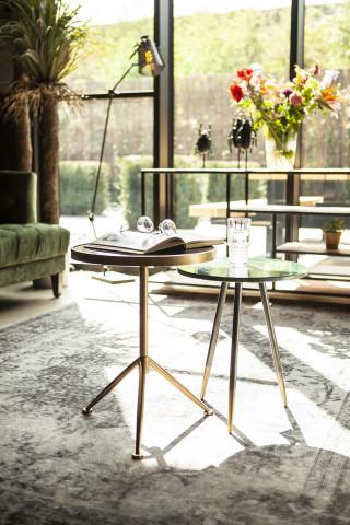 Masuta de cafea rotunda din metal si marmura Marvelous 40x40x45 cm verde