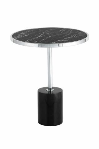 Masuta de cafea rotunda din metal si sticla 46x46x53 cm negru/argintiu
