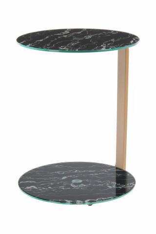 Masuta de cafea rotunda din sticla spatiu de depozitare Quentin 40x40x53 cm negru/auriu