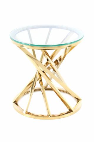 Masuta de cafea rotunda din sticla Wesley 40x40x42 cm transparenta/auriu