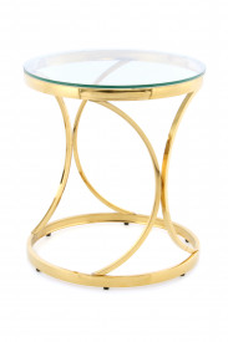 Masuta de cafea rotunda din sticla Weyda 50x50x52 cm transparenta/auriu