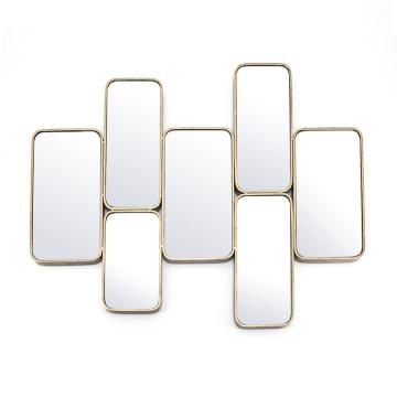Oglinda multi mirrors cu rama aurie Burly Collection, 102 x 3 x 80 cm