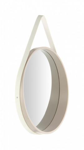 Oglinda rotunda cu rama din MDF/poliuretan alba Ultima, 3,5-7,5cm (L / D) x 49,5cm (W) x 49,5cm (H)