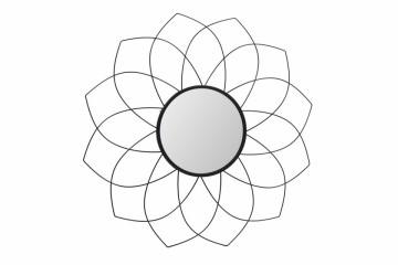 Oglinda rotunda cu rama din metal neagra Impulso Negru, 2cm (L / D) x 79.5cm (W) x 79.5cm (H)