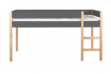 Pat mansardat cu scara din pin/MDF gri, 99x210x118 cm