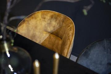 Scaun din catifea Rachel galben