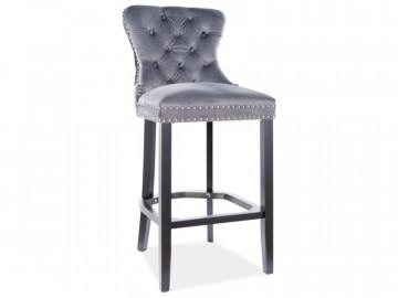 Set 2 scaun de bar din catifea August gri