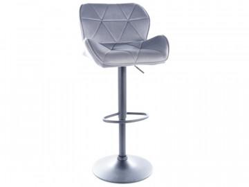 Set 2 scaune de bar din catifea reglabil 60-83 cm gri