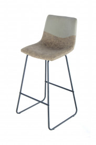 Set 2 scaune de bar din piele Kylie alb/maro
