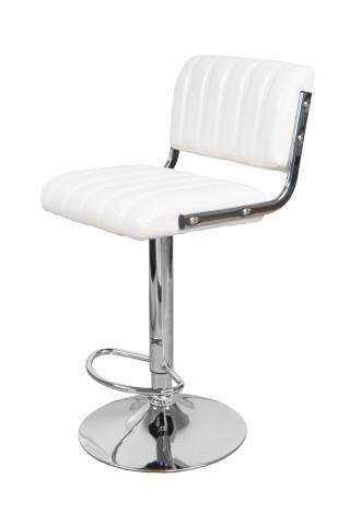 Set 2 scaune de bar rotative din piele sintetică Midnight albe
