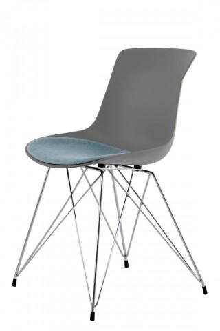 Set 2 scaune Emily gri/albastru deschis
